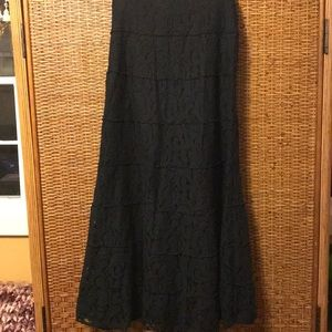 Black lace tiered maxi skirt Max Edition size M